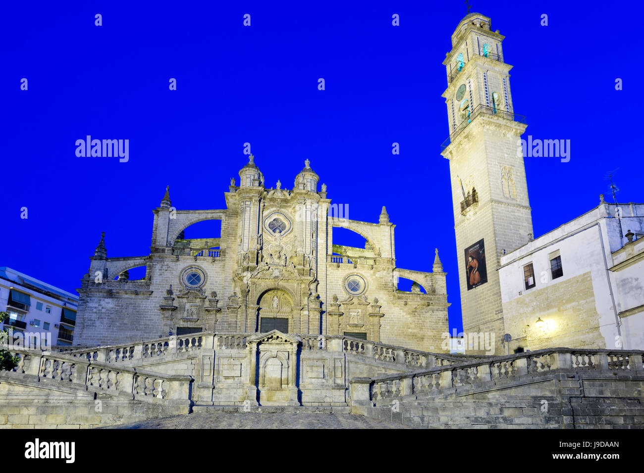 Jerez De La Frontera Kathedrale bei Nacht, Jerez De La Frontera, Cadiz Provinz, Andalusien, Spanien, Europa Stockbild