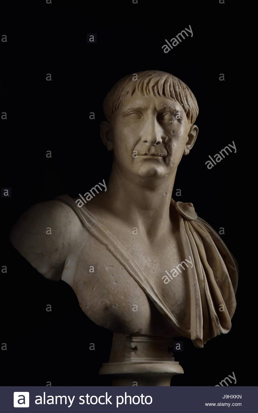 Eine Büste von Trajan, der von n. Chr. 98 bis 117, regierte das römische Reich seine äußersten Stockbild