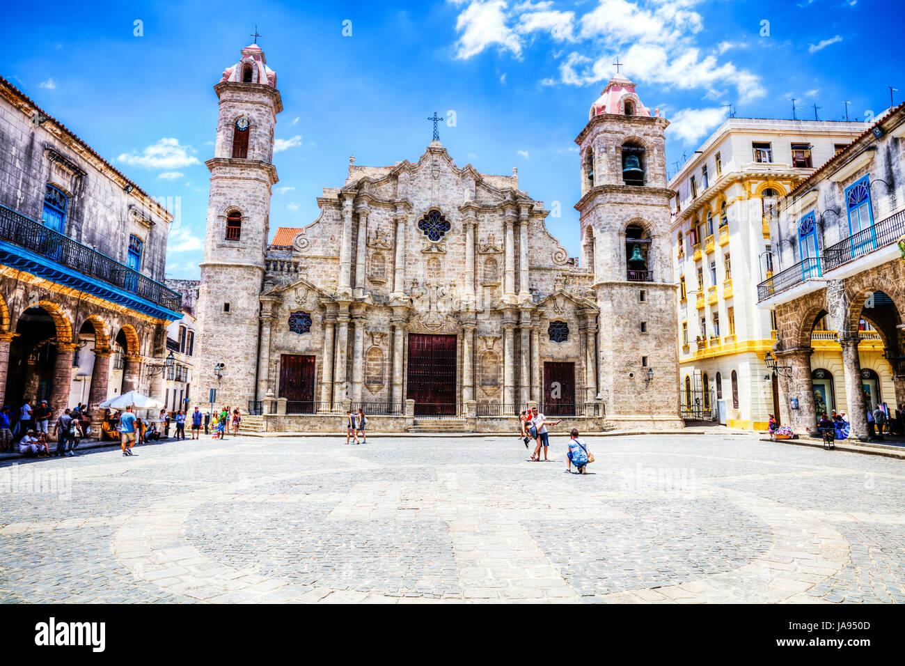 Kathedrale San Cristobal Havanna, Kirche, Kuba, Plaza Kathedrale San Cristobal Havanna Kuba, Dom, Catedral de San Stockbild