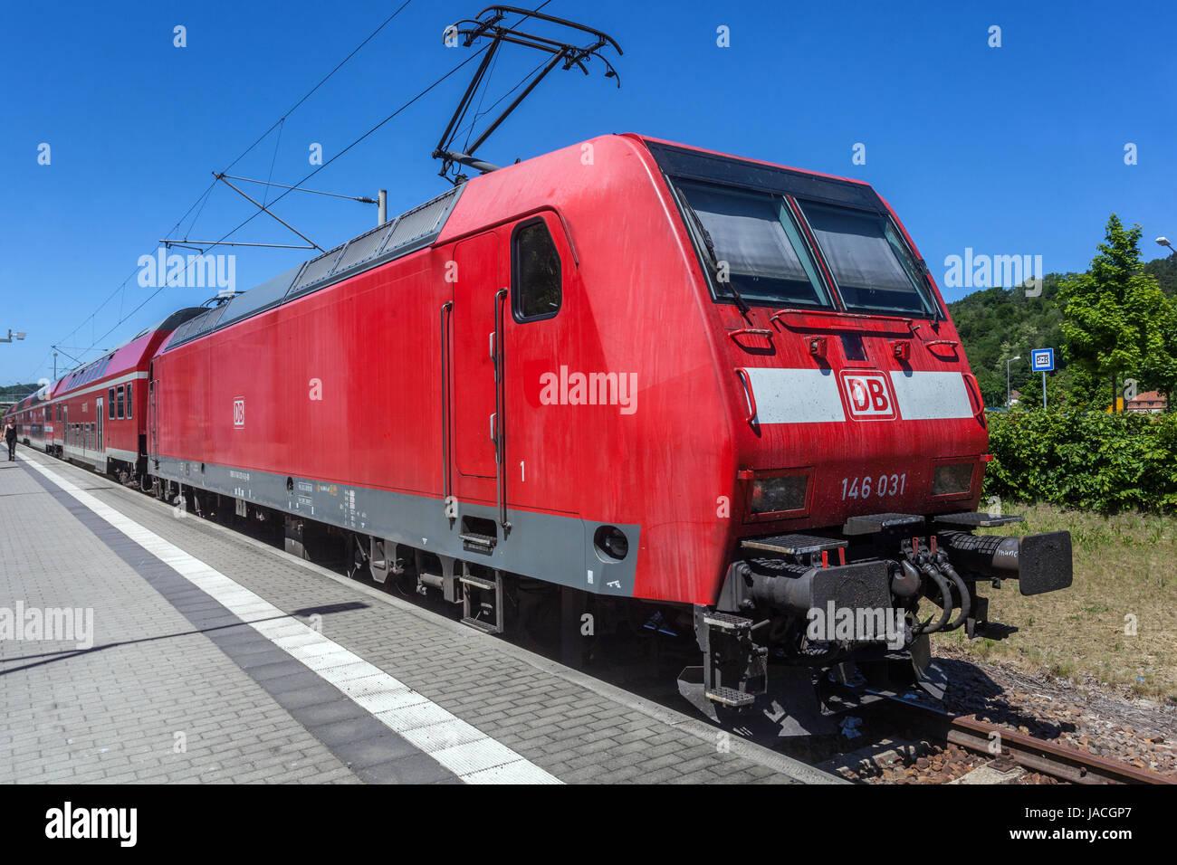 Regional Bahn, Bahnhof Bad Schandau, Sächsische Schweiz, Deutschland, Europa Stockbild