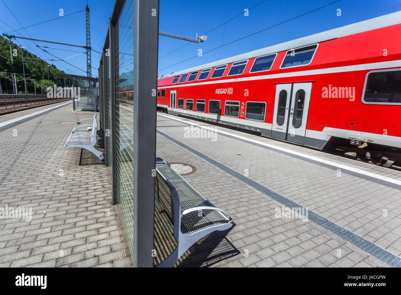 S-Bahn, Bahn Bahnhof Bad Schandau, Sächsische Schweiz, Deutschland, Europa Stockbild