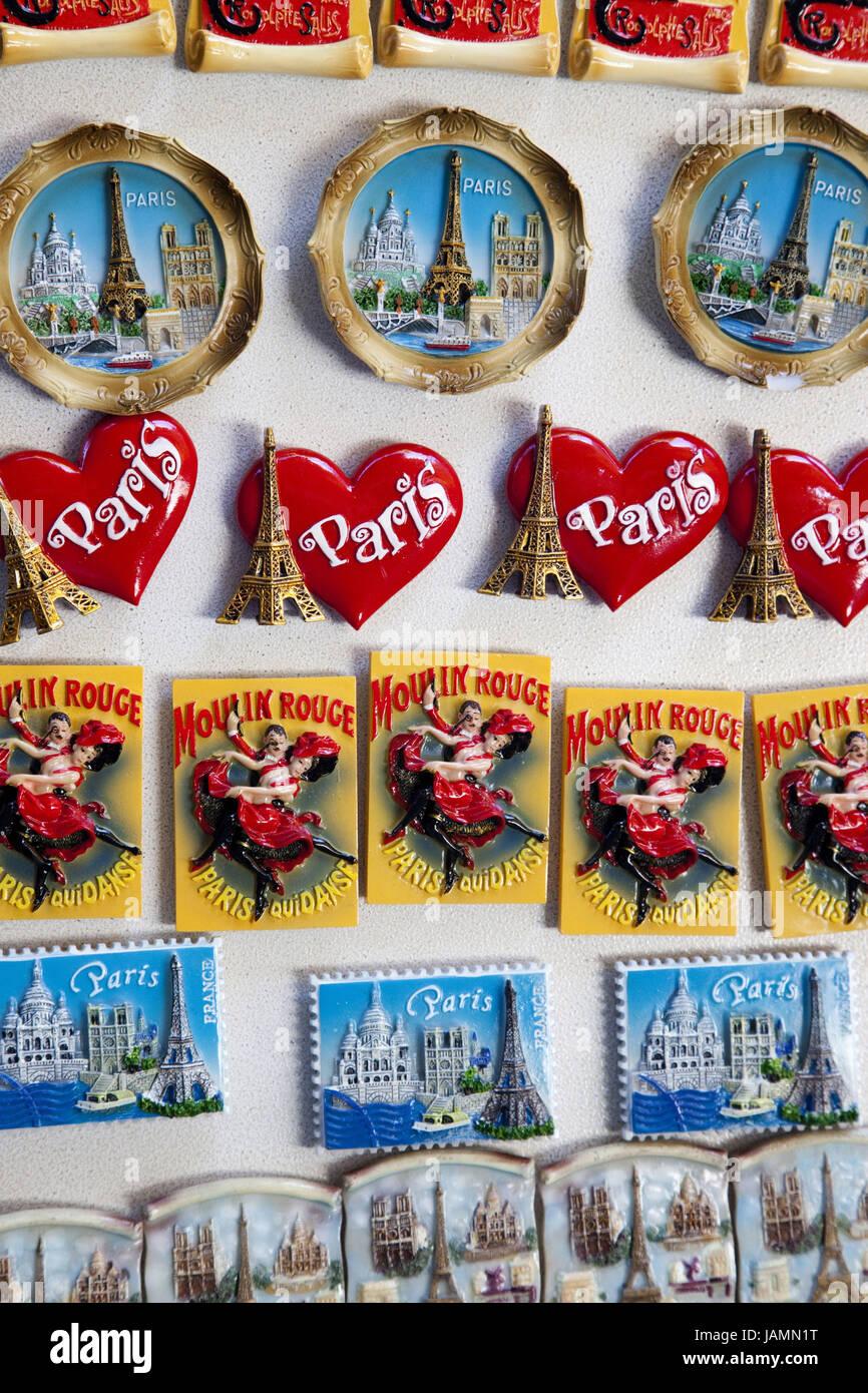 Frankreich, Paris, Souvenirs, Kühlschrank-Magnete, Sehenswürdigkeiten in Paris, Stockbild