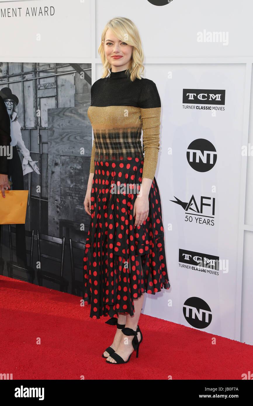 Hollywood, Ca, USA. 8. Juni 2017. Emma Stone bei der American Film Institute Gala zu Ehren Diane Keaton mit dem Stockfoto