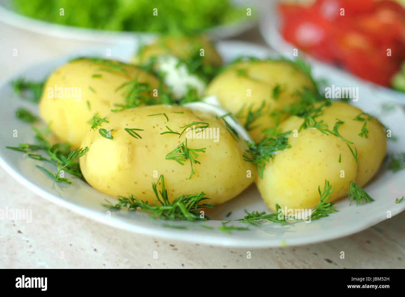 Frisches Bio-Gemüse und gekochten neuen Kartoffeln auf den Tellern auf dem Holztisch. Großaufnahme, selektiven Stockbild