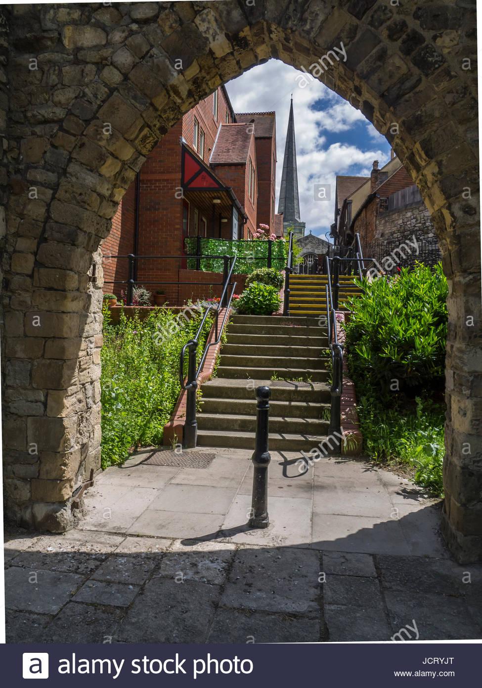 Eingang in die Stadtmauer für die Bewohner im Inneren der Wand Southampton, Hampshire, England, Stockbild