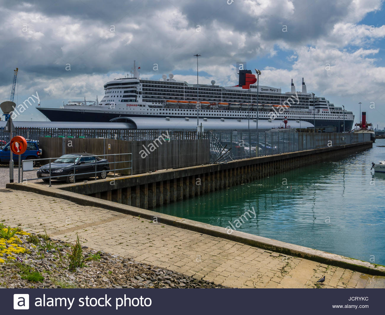 Queen Mary 2 Schiff angedockt Southampton Stockbild