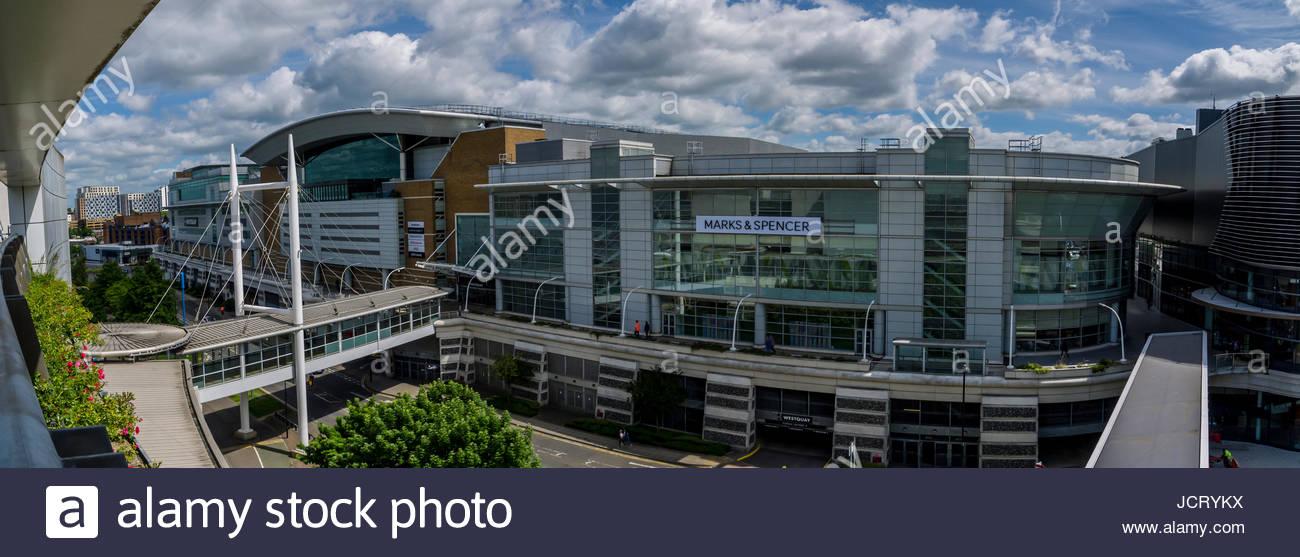 Southampton Hampshire England West Quay Einkaufszentrum Panorama Stockbild