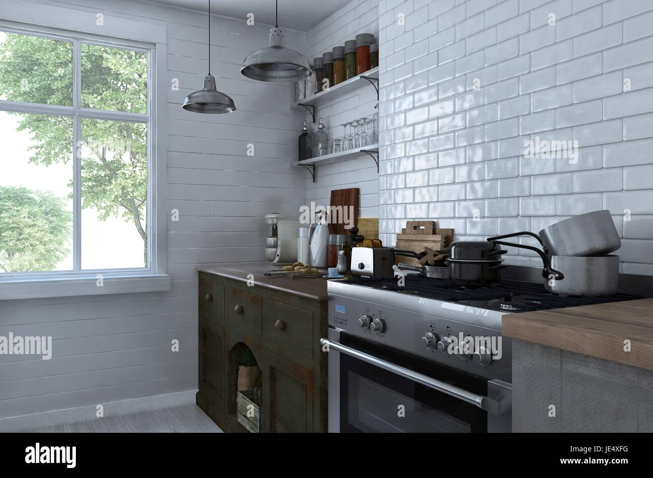 Kleine kompakte Küche Interieur mit Herd und Schränke mit sortierten ...