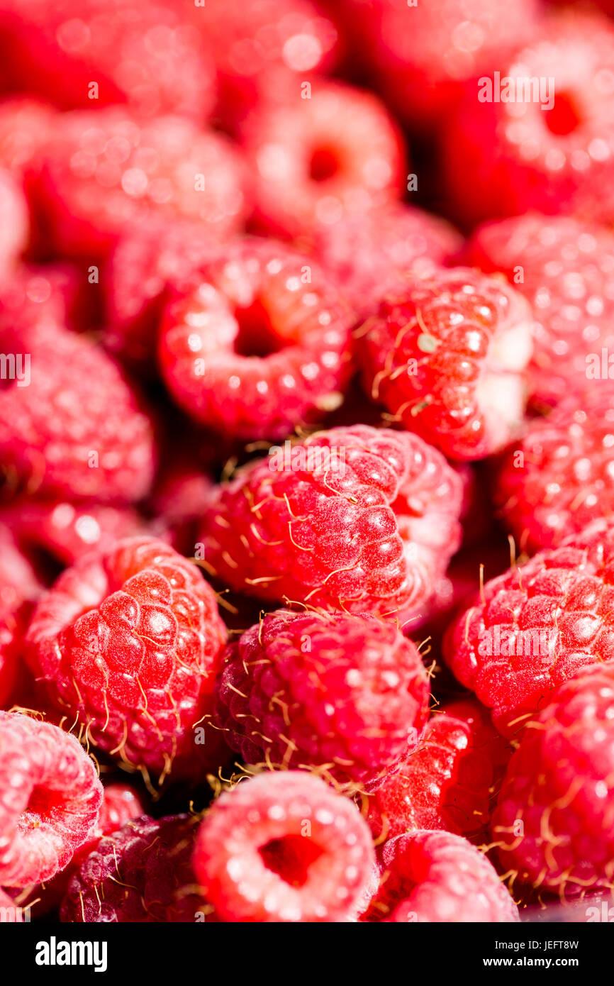 Full-Frame Himbeeren Makro rosa rot detaillierten Hintergrund. Vertikale crop Stockbild