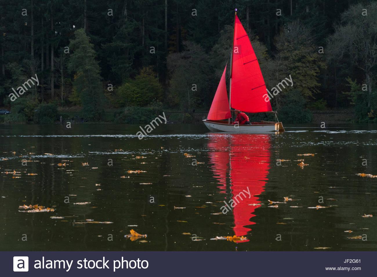 Mann Jolle mit roten Segel auf Herbst-See Stockbild