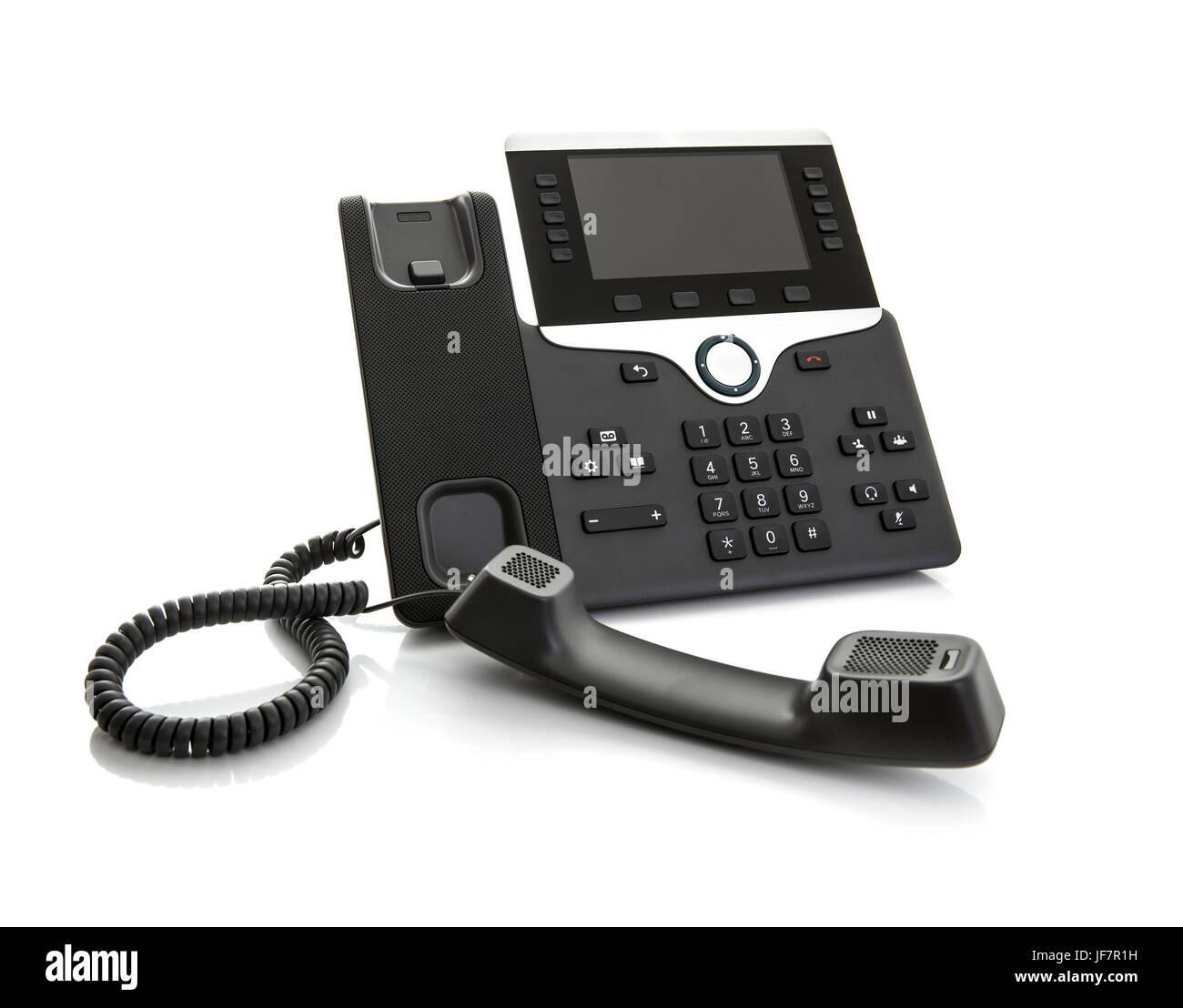 Moderne Business Office IP-Telefon auf weißem Hintergrund Stockbild