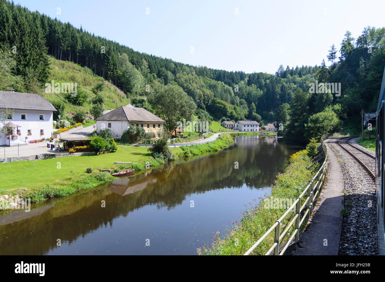 Regionalzug der Mühlkreisbahn in das Tal der großen Mühl, Österreich, Oberösterreich, Mühlviertel, Stockbild