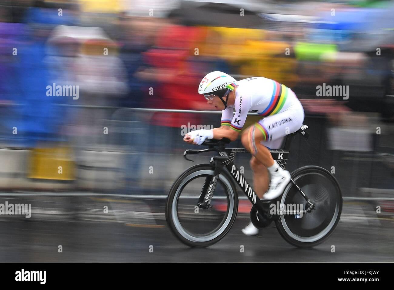 Düsseldorf, Nordrhein-Westfalen, Deutschland. 1. Juli 2017. ; Tony MARTIN (GER) Fahrer des Team Katusha - Alpecin Stockbild
