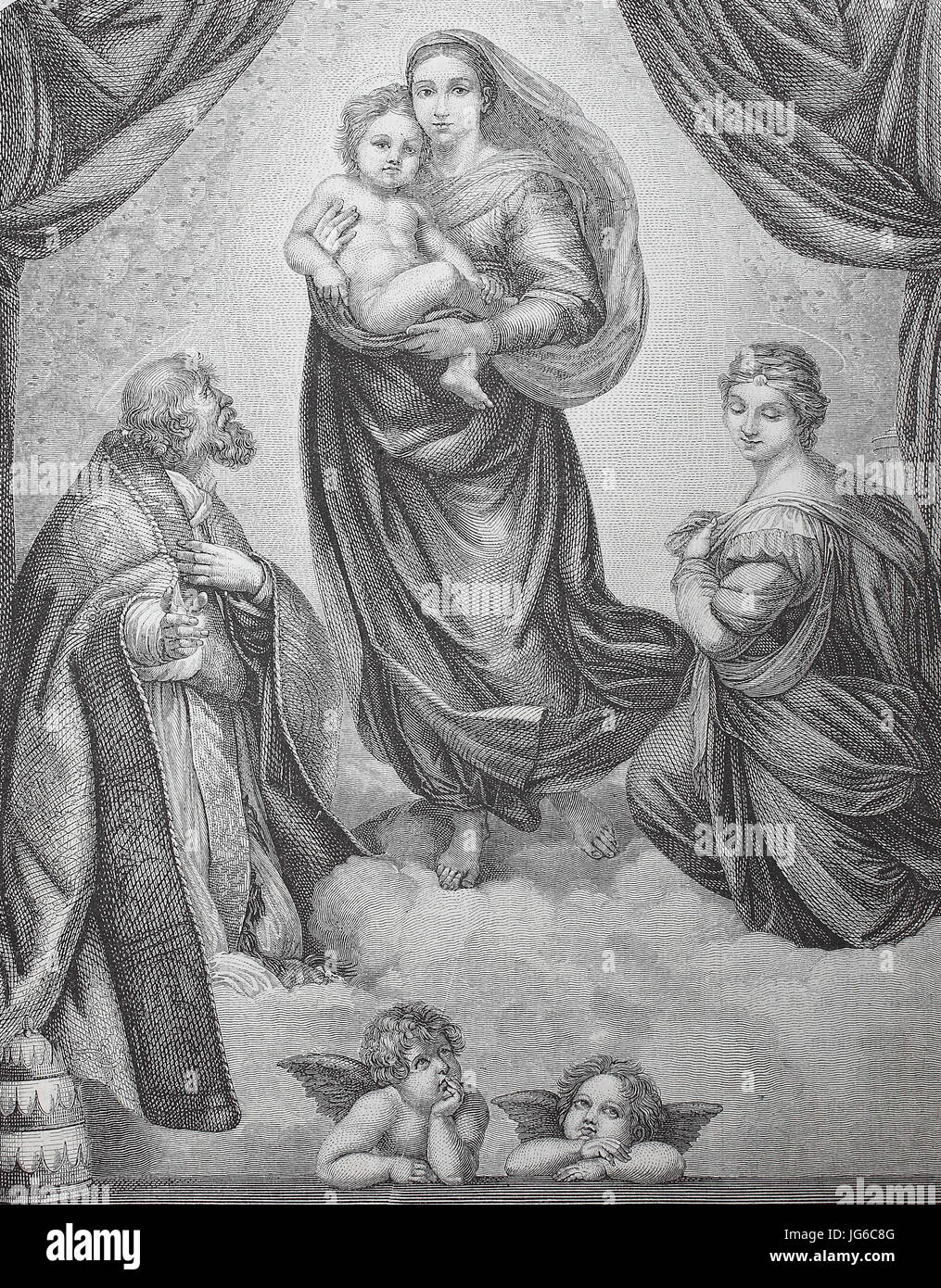 Digital verbessert:, die Sixtinische Madonna, auch genannt die Madonna di San Sisto, ist ein Ölgemälde Stockbild
