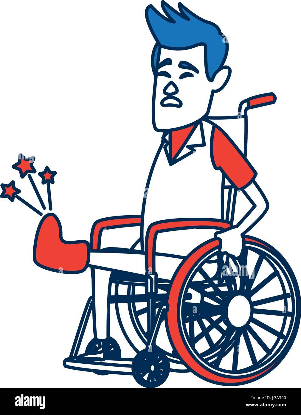 Ein Mann im Rollstuhl mit gebrochenen Knochen. Ein zeitgenössischer ...