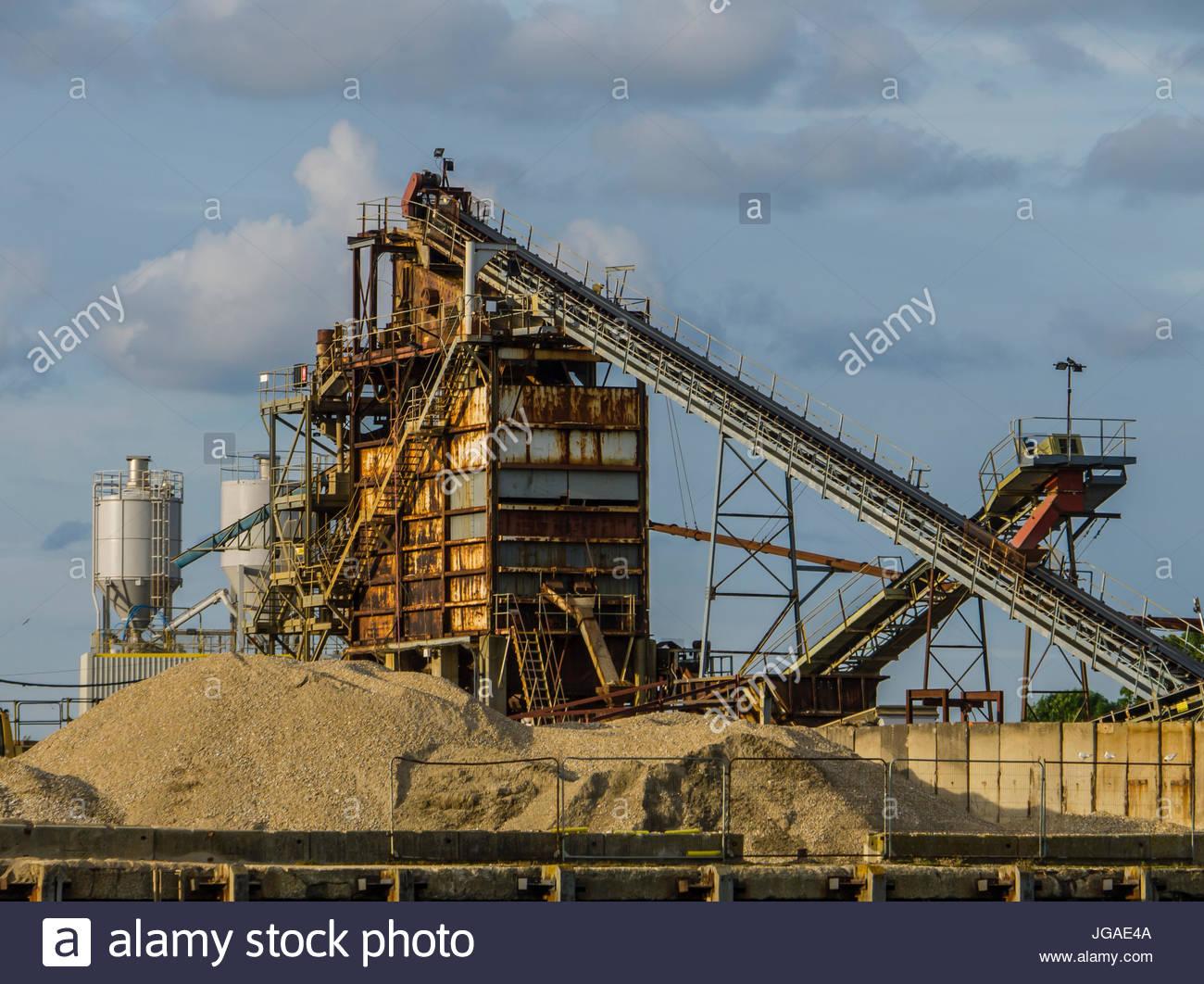 Sand und Kies Extraktion Hampshire England Stockbild