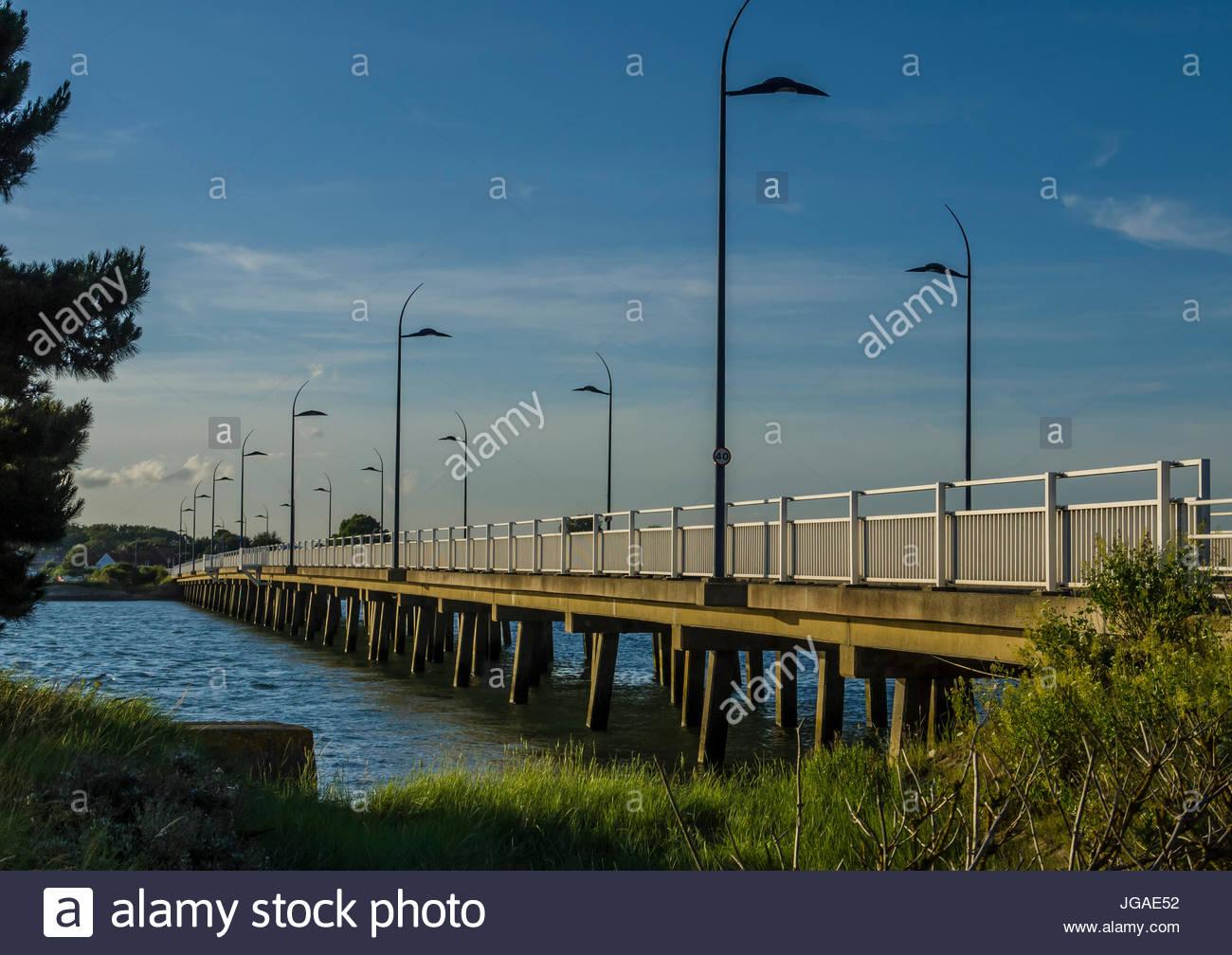 Hayling Island Bridge Hampshire England Stockbild