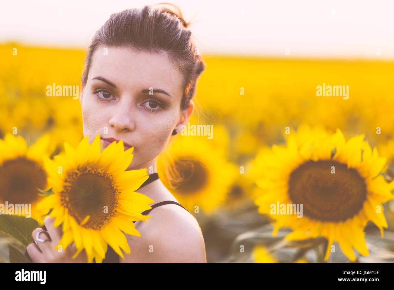 Schöne natürliche junge Frau im Sonnenblumenfeld im Sommer Sonnenuntergang Stockbild