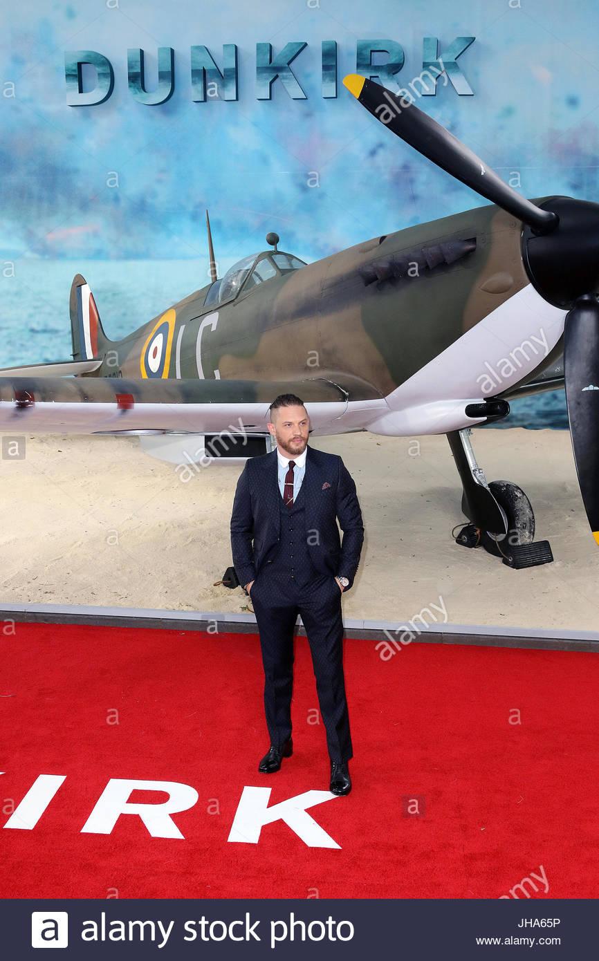 "London, UK. 13. Juli 2017. Tom Hardy besucht die ""Dünkirchen"" Welt-Premiere im Odeon Leicester Square Stockbild"