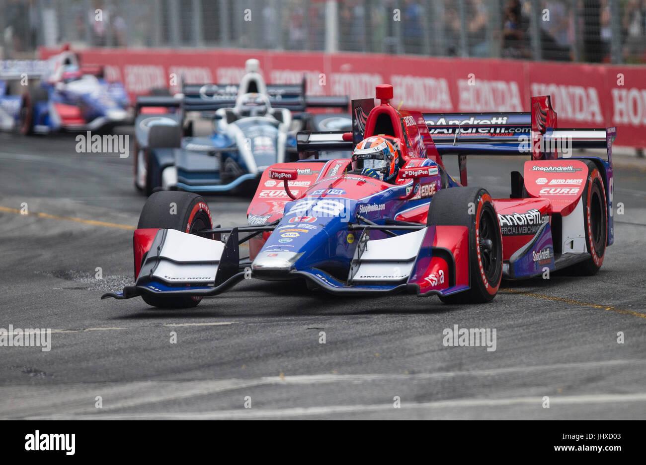 Toronto, Kanada. 16. Juli 2017. Andretti Herta Autosport Fahrer Alexander Rossi der Vereinigten Staaten Rennen während Stockbild