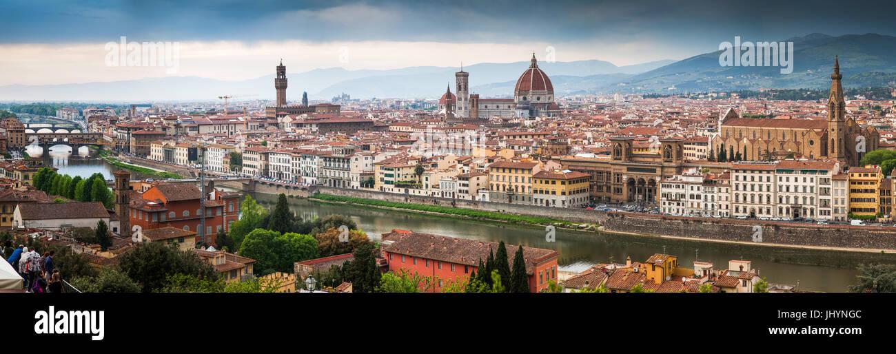Florenz-Panorama vom Piazzale Michelangelo, Florenz, Toskana, Italien, Europa Stockbild