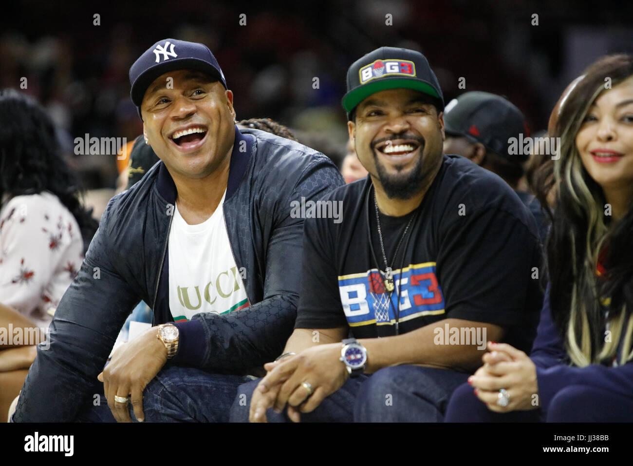 Ll cool j Ice Cube besuchen Big 3 Liga phiily, Pa 7/16/17. Stockbild