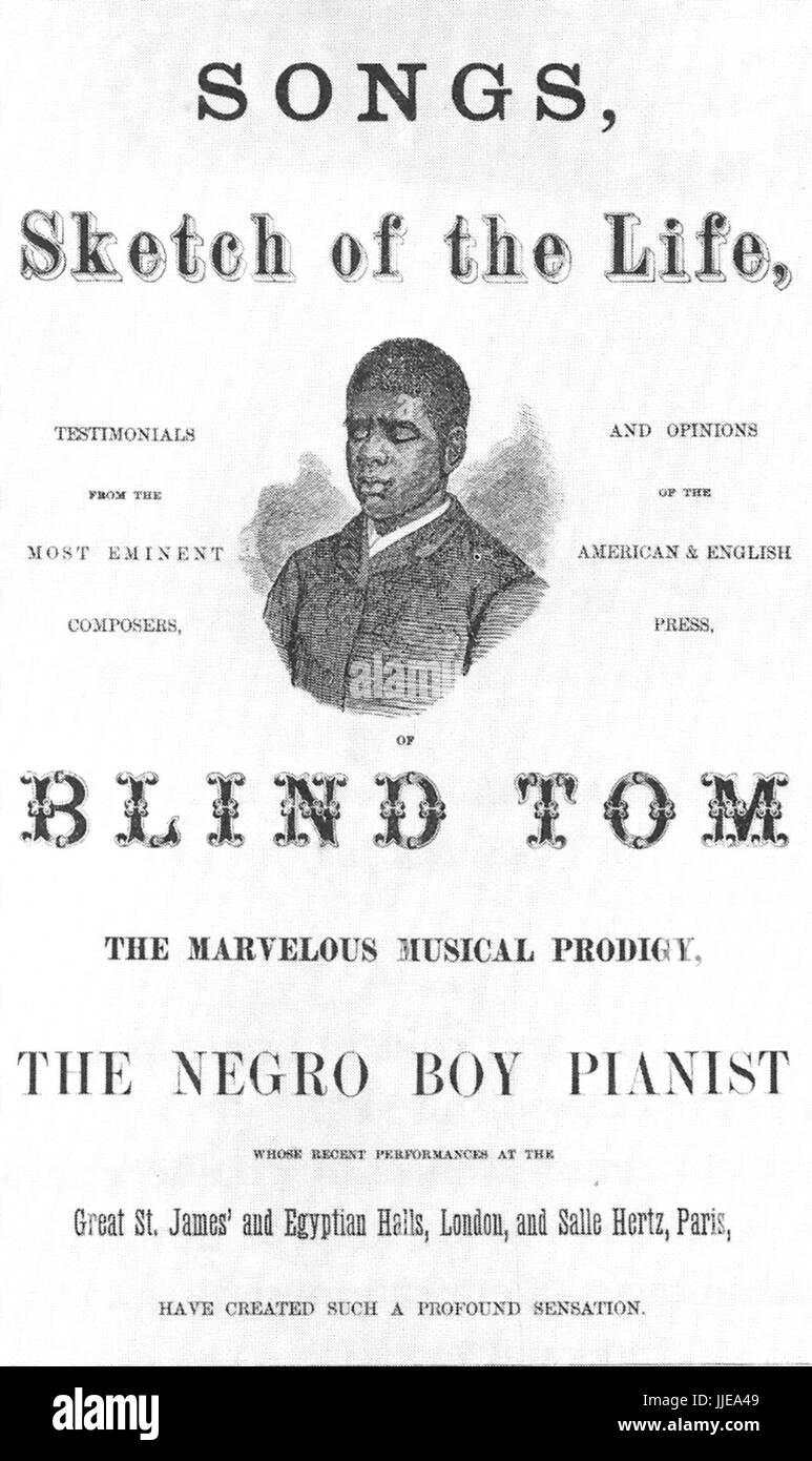 Blinde TOM WIGGINS (1849 ? 1908) afro-amerikanischer Klavier-Wunderkind. Eine Broschüre über sein Leben Stockbild