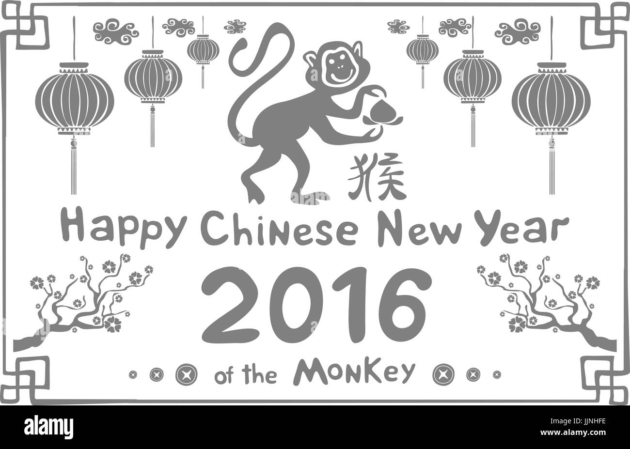 Handgezeichnete Chinese New Year Affen. Vektor-Illustration ...