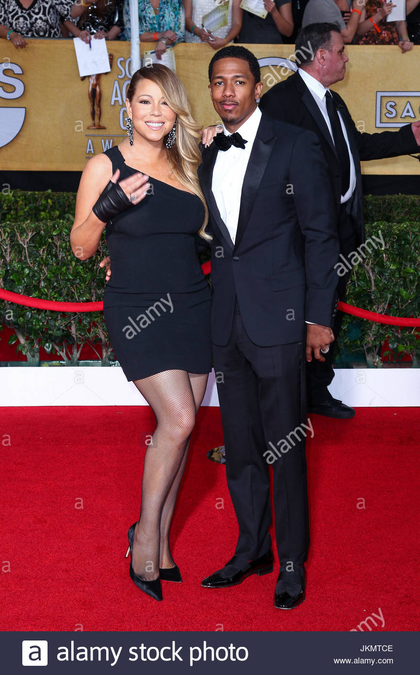 Mariah Carey und Nick Cannon. Mariah Carey und Ehemann Nick Cannon an 20. Annual Screen Actors Guild Awards am The Stockfoto