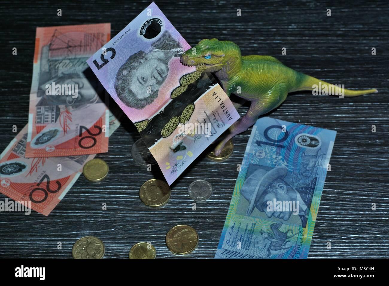 Selektiver Fokus Auf Australische Dollar Fünf Hinweis In Der