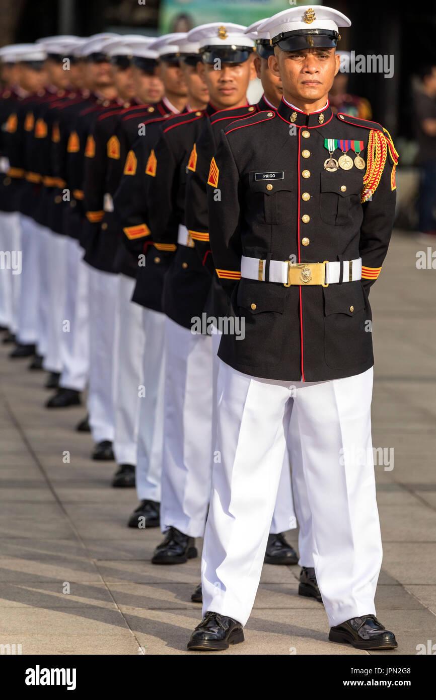 Marines in Militärparade, Rizal Park, Manila, Philippinen Stockbild