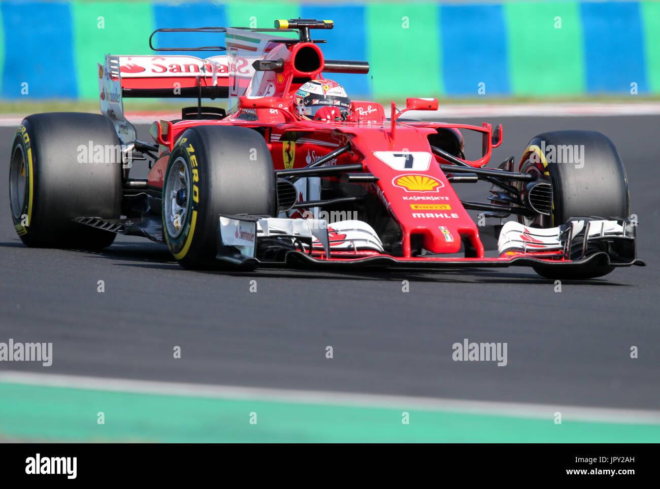 Budapest, Ungarn. 2. August 2017. 2. August 2017, Hungaroring, Budapest, Ungarn; Formel 1 In Saison-Test; Kimi Räikkönen Stockbild
