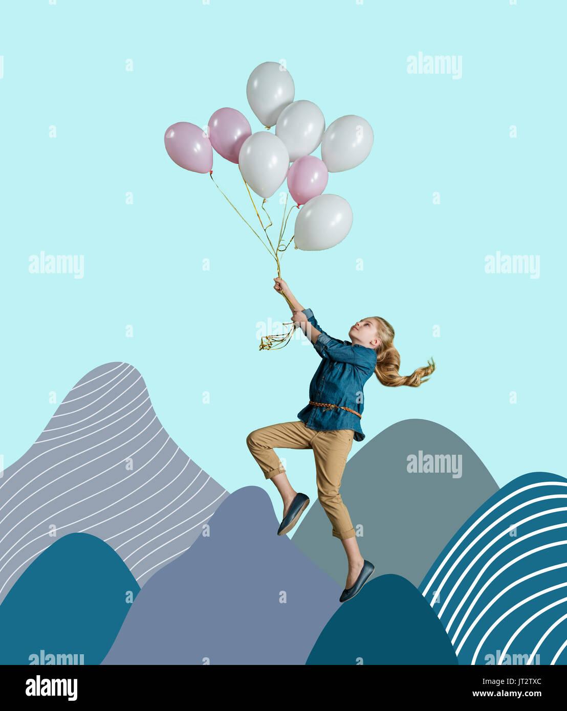 Mädchen fliegen über Berge von Hand gezeichnet Stockbild