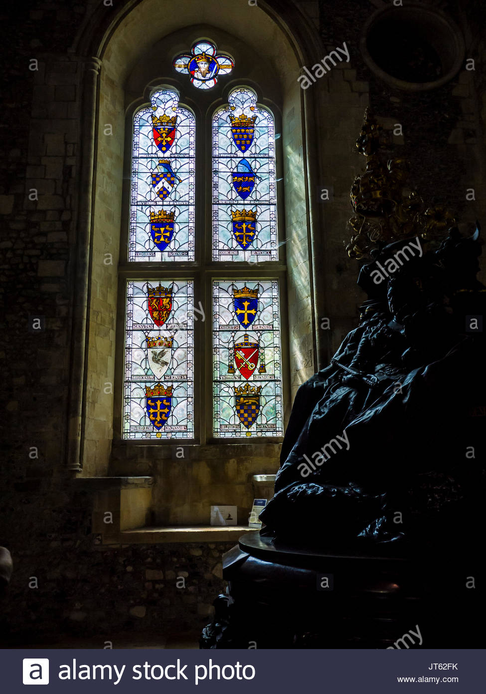 England, große, Halle, Hampshire, Königin Victoria, Stain Glass Window, Thron, Winchester Stockbild
