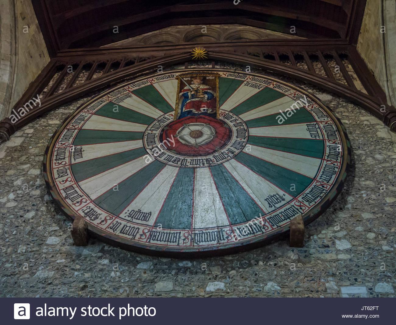 König Artus Tafelrunde, Hängen in den Großen Saal Winchester, Stockbild