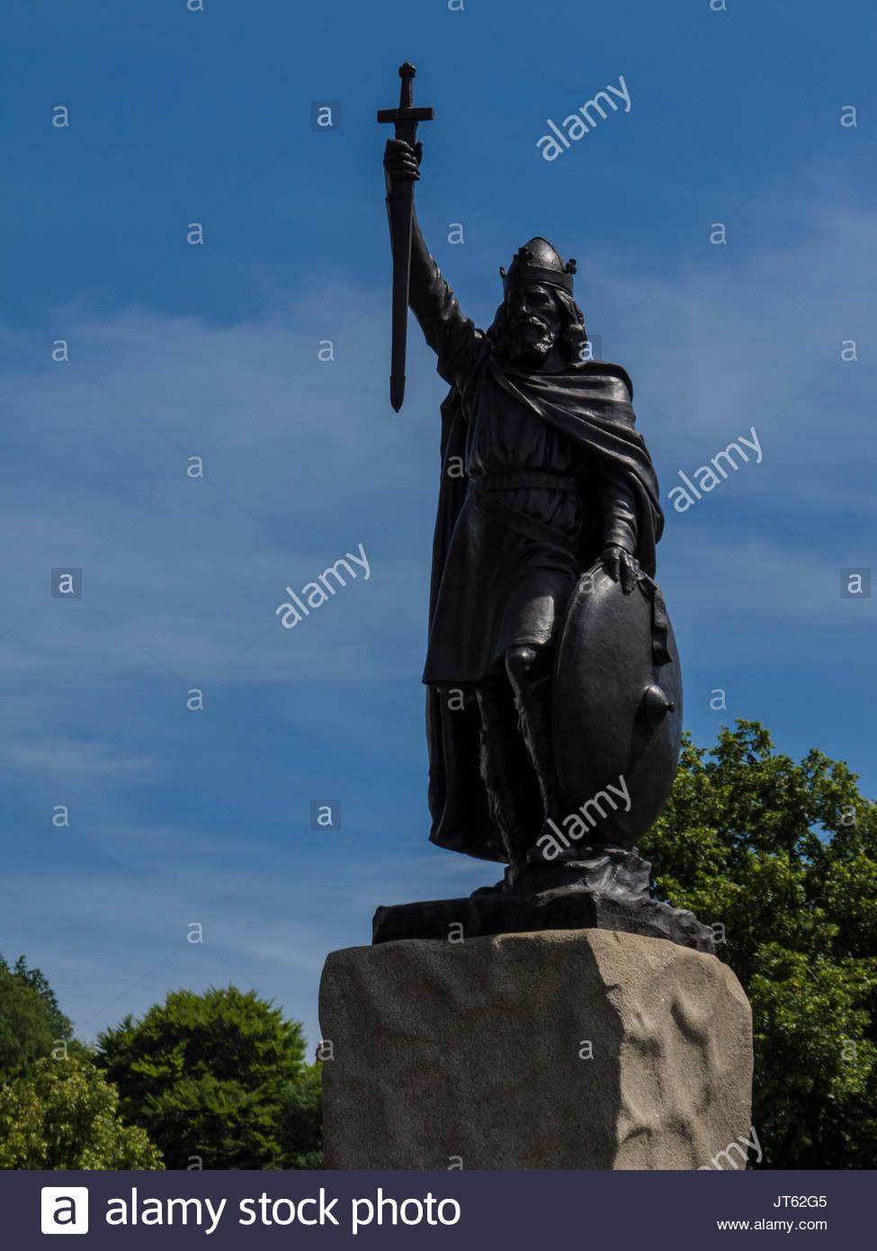 Winchester Hampshire England Statue Alfred König West Sachsen AD 871-899 Stockbild