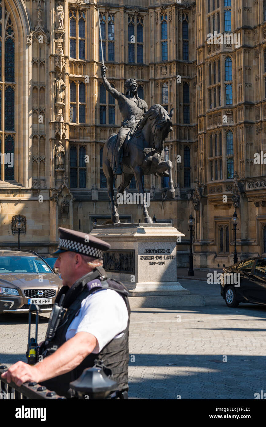 Großbritannien London Westminster Palast von Westminster Parlament statue Skulptur Bronze 1 erste König Stockbild