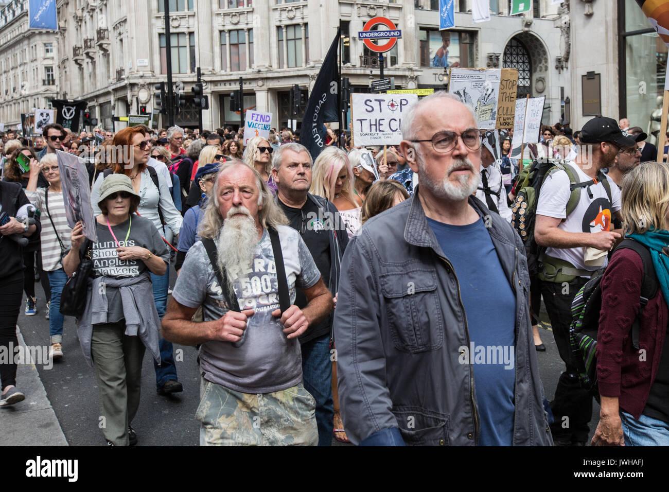 London, Großbritannien. 12 Aug, 2017. Der Schauspieler Peter Egan, schließt sich der Protest durch die Stockbild