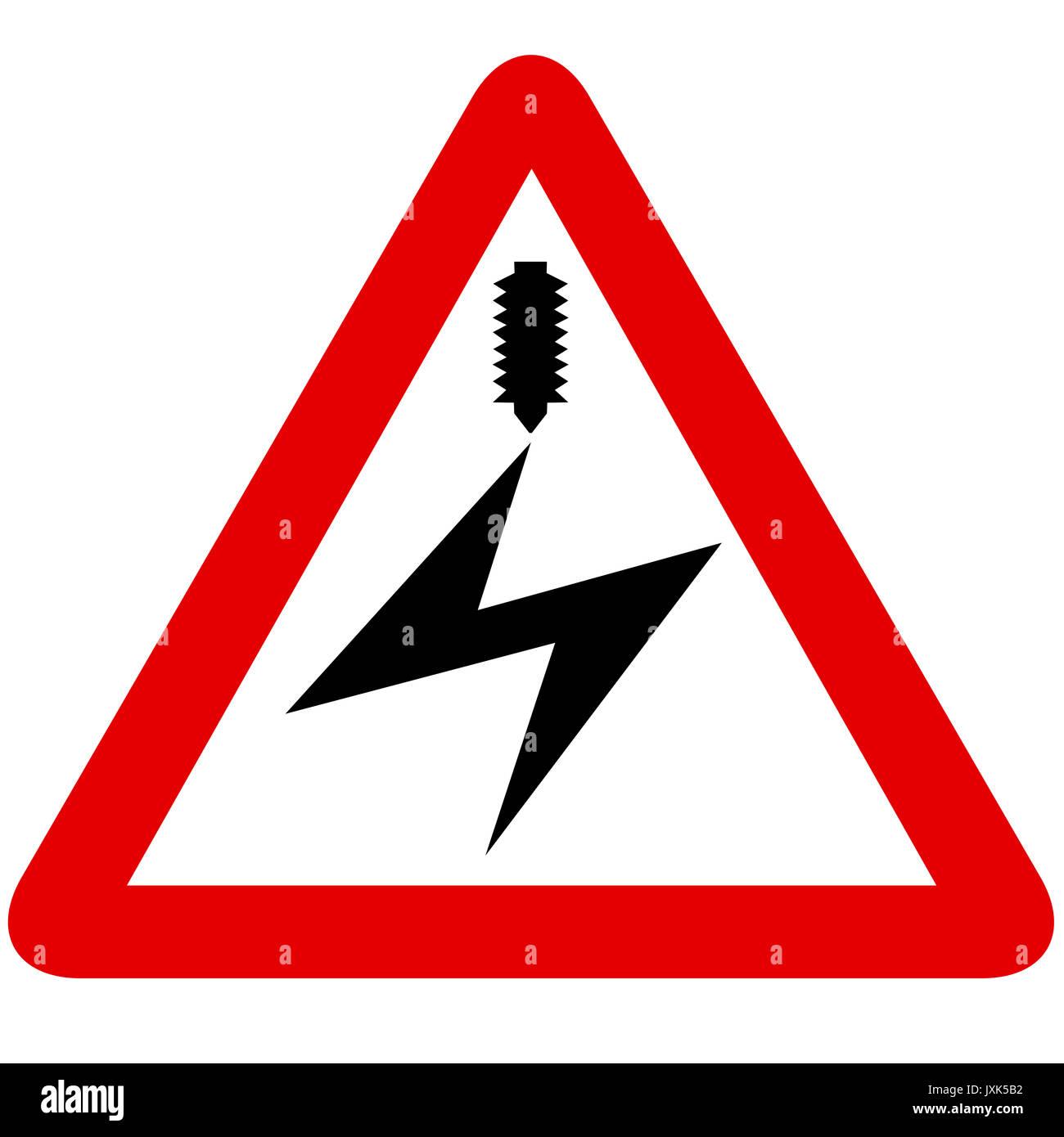 Elektrischen Freileitung Schild auf weißem Hintergrund Stockbild