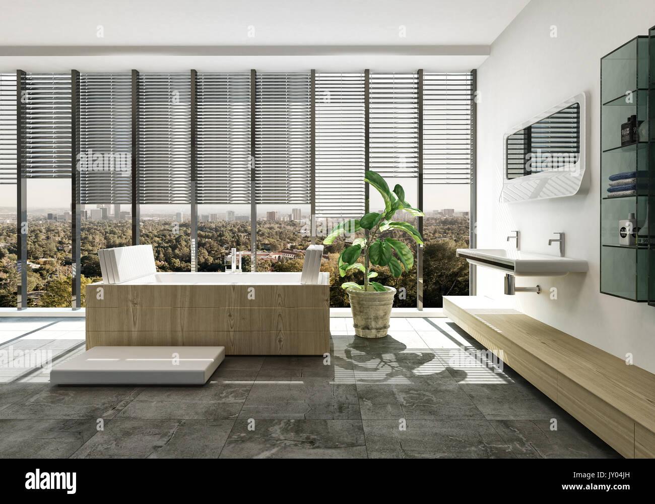 Elegante Luxus Badezimmer Einrichtung Mit Designer Rechteckige Wanne Und  Wand Montiert Eitelkeit über Einen Fliesenboden Mit Topfpflanzen Und Großen  ...