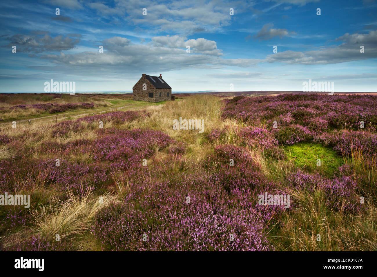 Durch Haus, Jagdhaus oberhalb Fryupdale in die North York Moors. Stockbild