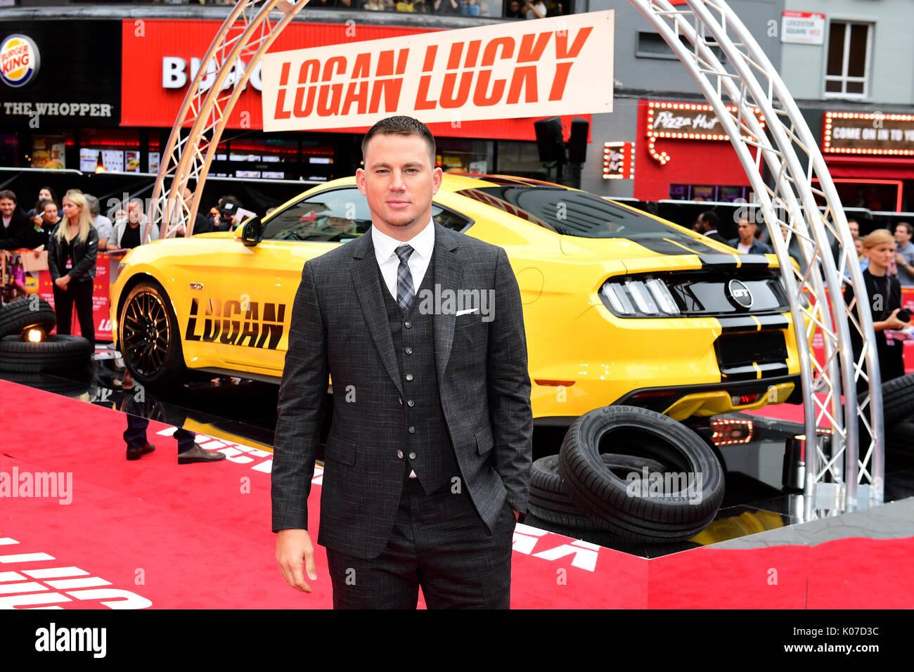 Channing Tatum Teilnahme an der Logan Lucky UK Premiere auf der Vue West End in Leicester Square, London statt. Stockbild