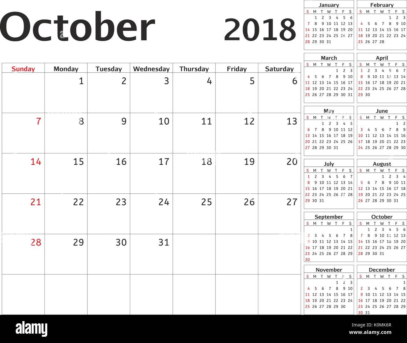 Rest Of Year Calendar : Einfacher kalender planer für jahr vektor design