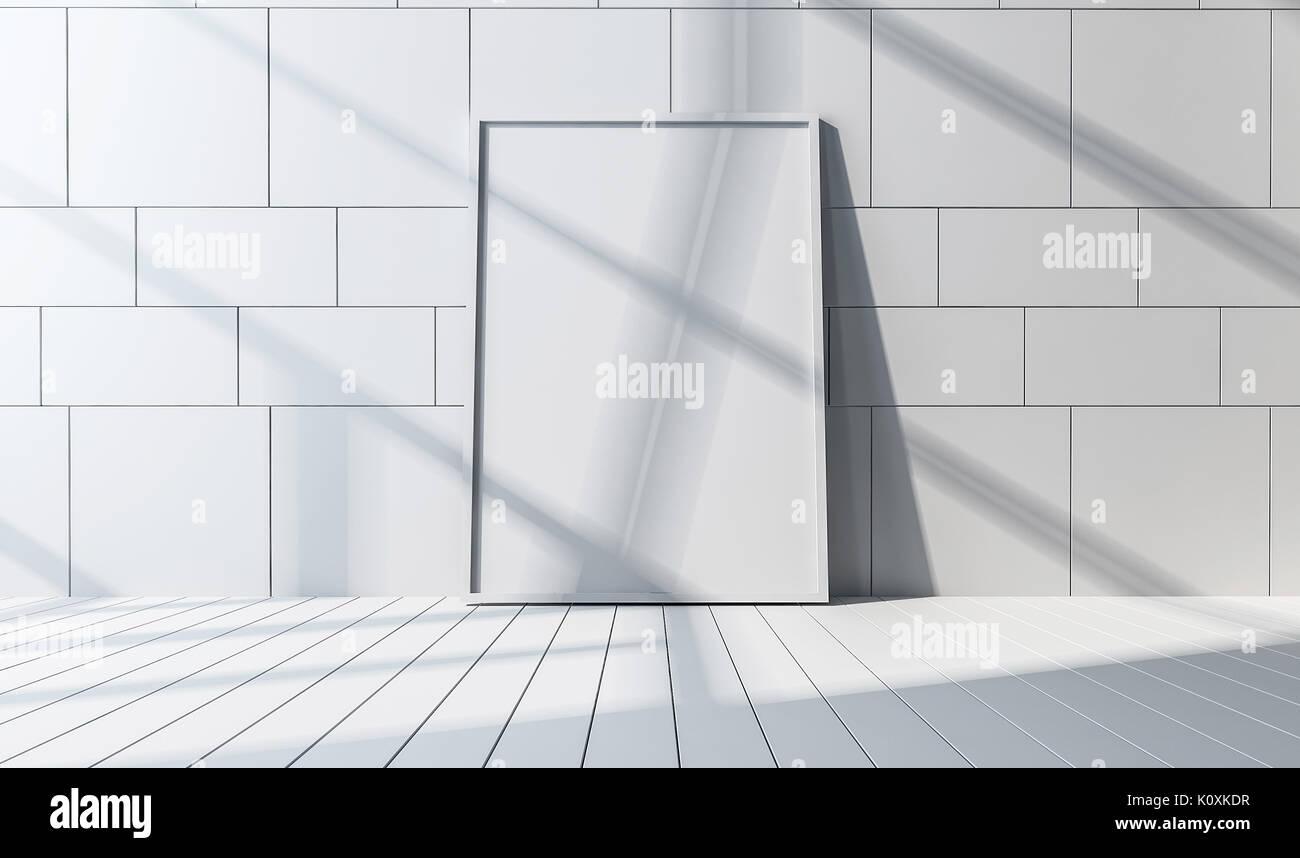 Vorderansicht eines weißen Spiegel oder Weiß große Bilderrahmen und ...
