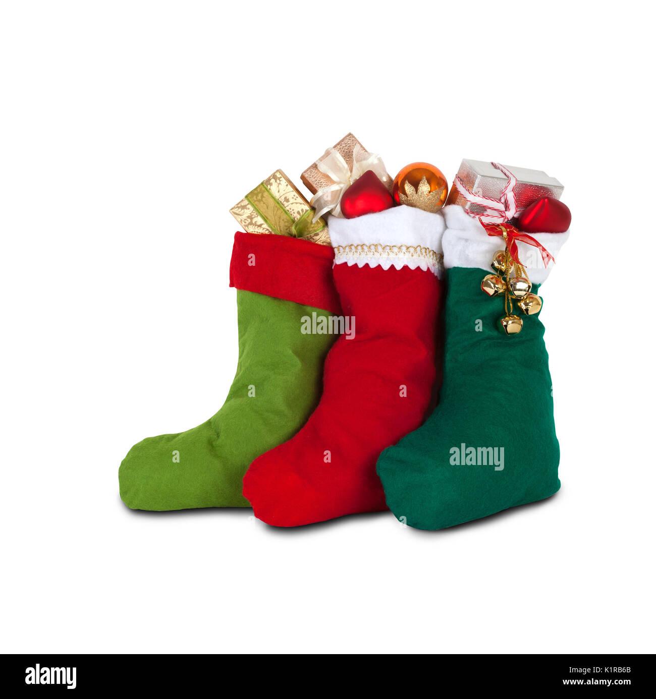 Weihnachten Socken mit Geschenken. weißen Hintergrund. Isoliert Stockbild