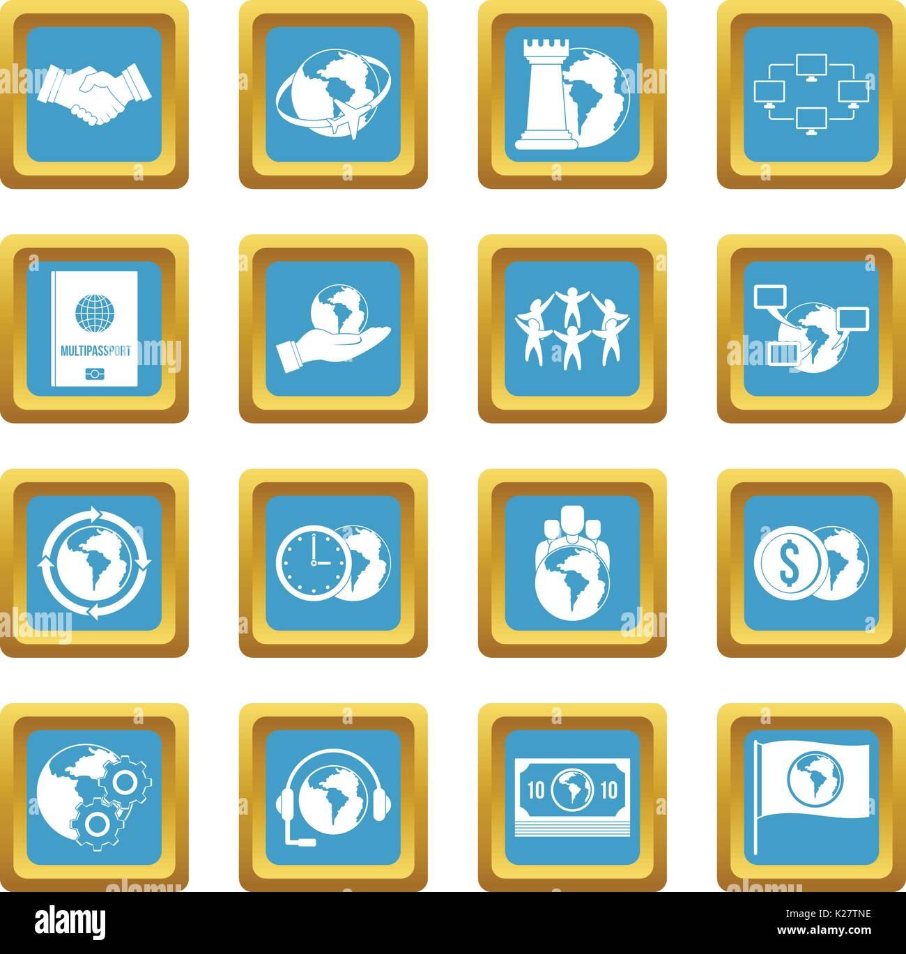 Globale Verbindungen Symbole azure Stockbild