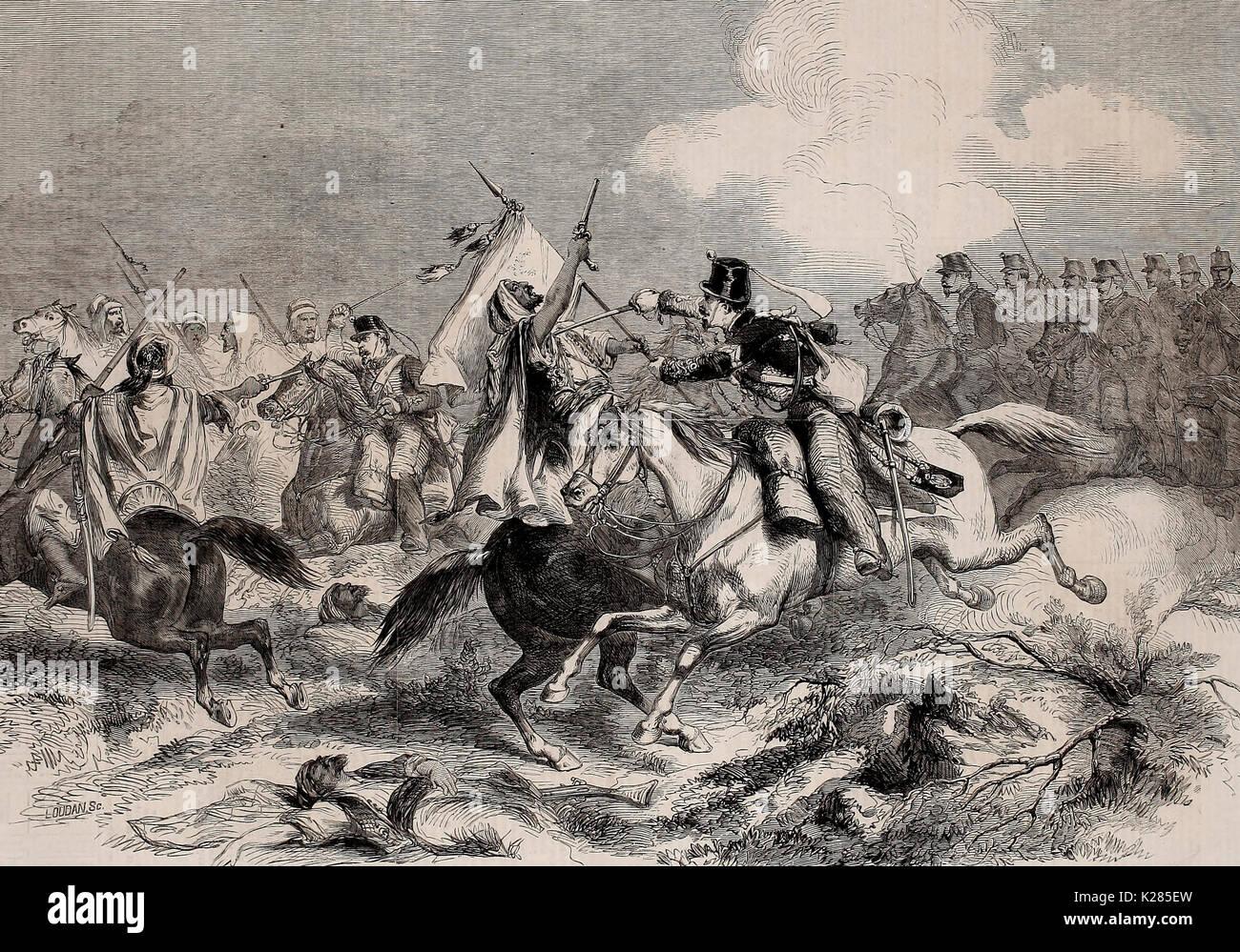 Krieg in Marokko - Konflikt zwischen maurischen und spanischen Kavallerie am 1. Januar 1860 Stockbild