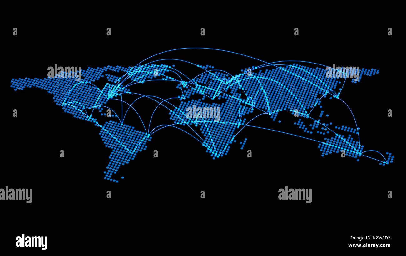 World Cities Verbindungen 3D-Rendering Stockbild