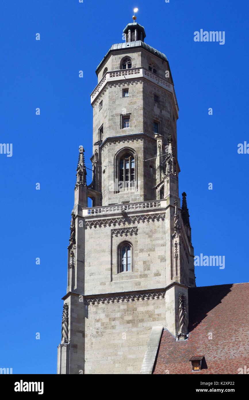 Nördlingen, Ries, Schwaben, Bayern, Romantische Straße, Denkmal, historisch, Tourismus, Fremdenverkehr, Stockbild