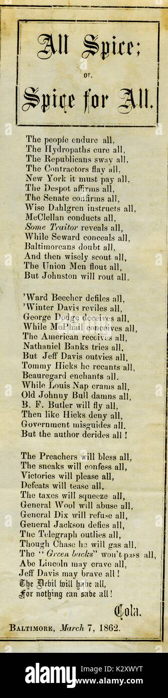 """Breitseite aus dem amerikanischen Bürgerkrieg, der den Titel """"Alle Spice oder Gewürz für Alle"""", Stockbild"""